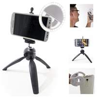 Kit  3 em 1 mini tripé, suporte celular e led selfie ring light