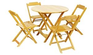 Conjunto mesa dobrável de madeira