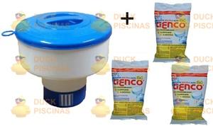 Kit Clorador Flutuante + 3 Tablete Cloro 3 Em 1 Genco 200gms