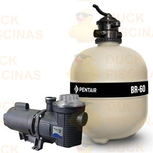 Filtro Piscina Pentair BR60 100.000l com Bomba 1cv Motor Weg