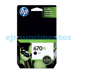 HP 670xl preto cartucho de tinta CZ117AB