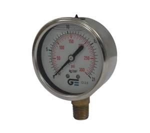 Manometro 0 a 300lbs - 0 a 21 kg/cms² 2 1/2 r/ 1/4 c/ Glicerina