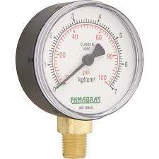 Manômetro 0 a 100lbs - 0 a 10 kg/cms² 2 1/2 r/ 1/4 npt