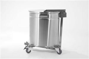 Carro para tranporte de detritos 80 litros c/ tampa e pedal de acionamento