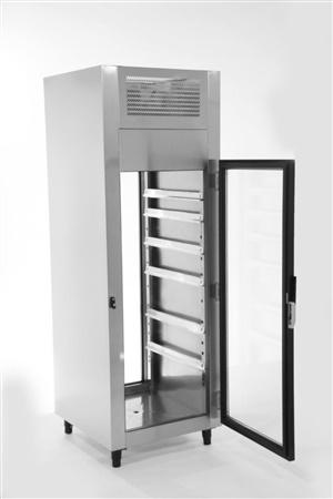 Passthrough aço inox aquecido 700x800x2100 portas de vidro
