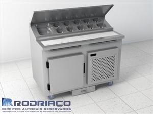 Condimentadora inox refrigerada para lanches e pizzas