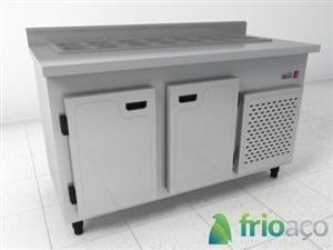 Condimentadora refrigerada inox para lanches e pizzas