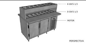 Condimentadora refrigerada para lanches e pizzas 2 lados de trabalho