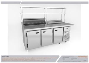 Condimentadora refrigerada inox com prateleiras elevadas
