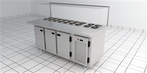 Condimentadora inox 180 refrigerada/neutra
