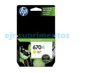 HP 670xl amarelol cartucho de tinta CZ120AB