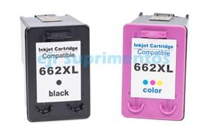 Kit 1-HP662XL colorido e 1-HP662XL preto compatível