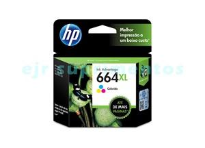 Cartucho para impressora hp 1115, 2136, 4536, 3636, 3836, 3536, 3776 e 4676, HP 664XL 664 colorido F6V30AB original.