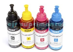 kit tinta para impressora epson 100ml preto, 100ml amarela, 100ml azul, 100ml magenta corante