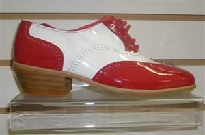 M4 -Salto carrapeta - Sapatos bicolores Vermelho e branco , sola de couro e salto carrapeta