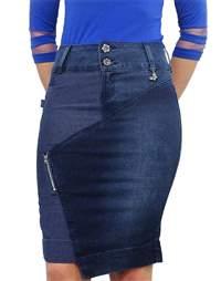 Saia Jeans Com Pingete  - REF 11515
