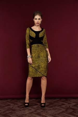 Vestido Jacquard Mostarda - REF 12610 - LIQUIDA