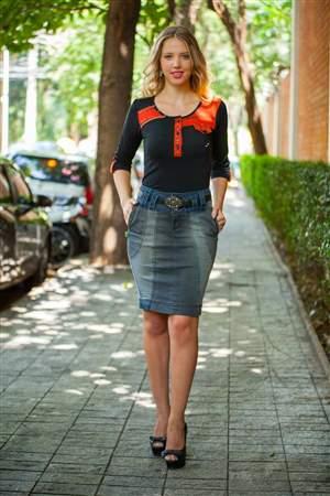 Saia Jeans Azul e Cinza - REF 12540