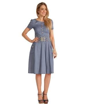 Vestido Rodada Sarja Estampada - REF 13720