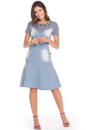 Vestido Jeans Aplicação Ilhós - REF 13780