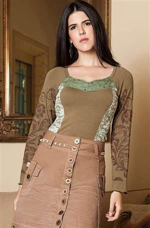 Blusa de Malha, decote V de Renda - REF A915