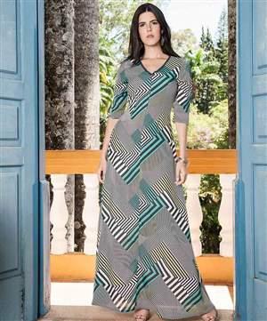 Vestido Longo Crepe Estampado - REF 13890