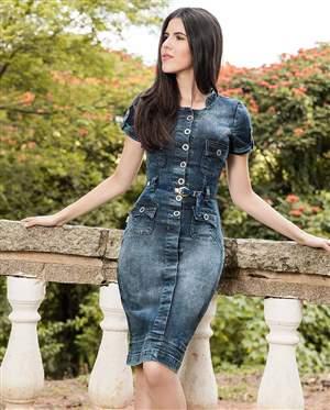 Vestido Jeans Cinto Azul - REF 13835