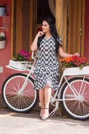 Vestido Crepe Preto & Branco - REF 14425