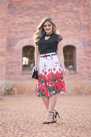 Saia Crepe Floral Vermelho - REF 14615A