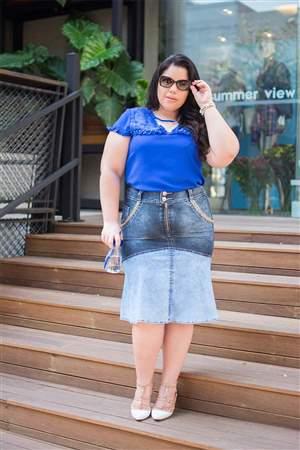 Saia Plus  Jeans Sino - REF 14940