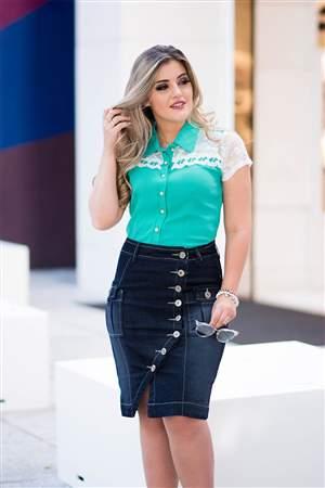 Saia Jeans Botões Frontais - REF 14745