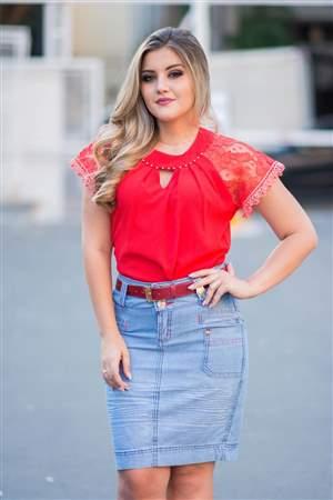 Saia Jeans Cinto Vermelho - REF 14225