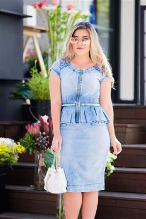 Vestido Jeans Peplum Verão - REF 14120