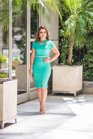 Vestido Bengaline Verde - REF 14995
