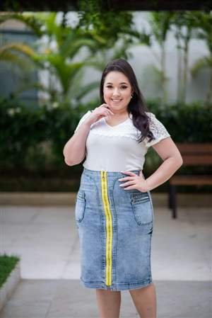 Saia Jeans Zíper Amarelo - REF 14945