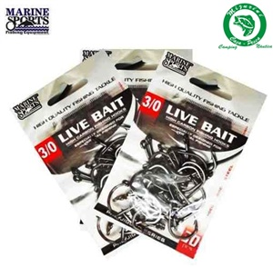 Anzol Marine Sports Live Bait Hooks - 3 Tamanhos c/ 01 un.