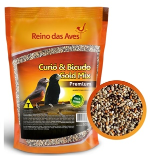 Ração Reino das Aves Curió & Bicudo Gold Mix 500gr c/ 01 un.
