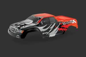NITRO GT-2 TRUCK PAINTED BODY (BLACK/RED/SILVER) HPI