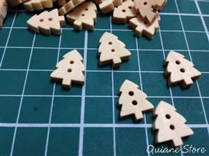 Kit 10 Botões de Madeira Pinheiro de Natal
