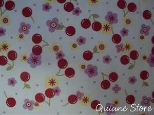 Tecido Estampado Cereja e Flor - Última peça medindo 70 centímetro