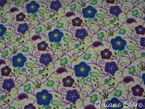 Tecido Estampado Arabesco Flor Azul - O METRO