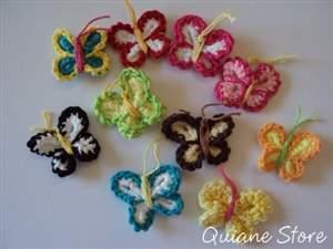 Kit 20 Borboletas de Crochet