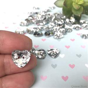 Kit com 10 Botões Cristal Modelo Coração