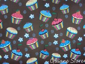 Tecido 100% Algodão Estampado Cupcake - O metro
