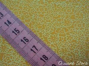 Tecido 100% Algodão Flor Miúda cor Amarelo - O metro