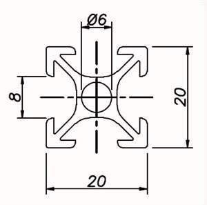 Perfil de Alumínio 20x20 Básico ( preço por mm )
