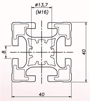 Perfil de Alumínio 40x40 Básico ( preço por mm )