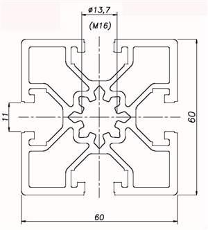 Perfil de Alumínio 60x60 Básico ( preço por mm )